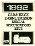 1992 Ford Car & Truck Engine/Emission Special Specifications Issue